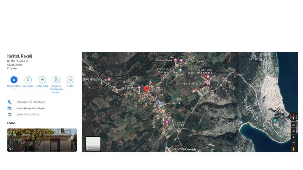 Satelliten Foto von der Lage: Ferienhaus Kastel Rakalj, Istrien, Kroatien.